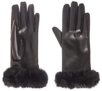 Quiz Black Faux Fur Gloves