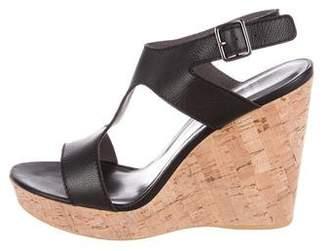 Stuart Weitzman Leather Cutout Wedge Sandals