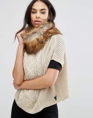 Lipsy Cable Knit Poncho With Faux Fur Trim