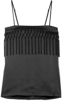 CAMI NYC The Blain Macramé-trimmed Silk-charmeuse Camisole - Black