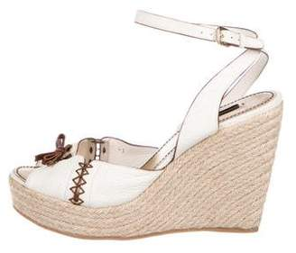 Louis Vuitton Leather Wrap-Around Wedges
