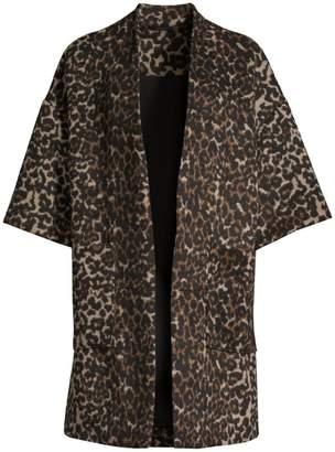 Natori Serengeti Leopard Print Felted Open Jacket