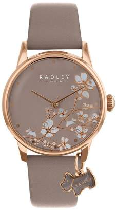 Radley Taupe Floral And Rose Gold Dog Charm Dial Taupe Leather Strap Ladies Watch