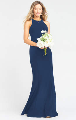 Show Me Your Mumu Chicago High Neck Gown ~ Rich Navy Stretch Crepe