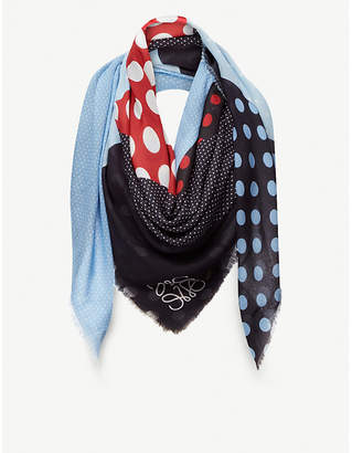 Loewe Dot print patchwork silk scarf