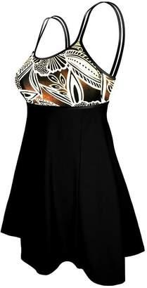 Deep Blue Swim Deep Blue Womens Black Floral Double Strap Plus Size Swim Dress 4X