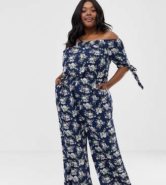 Yumi Plus floral short sleeve jumpsuit