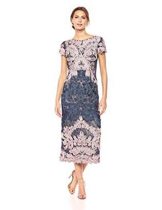 JS Collections Women's Short Sleeve Embroidered Midi