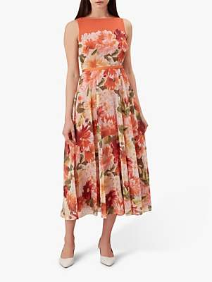 Hobbs Carly Dahlia Floral Print Midi Dress, Orange
