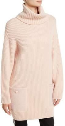 Emporio Armani English-Ribbed Turtleneck Tunic Sweater