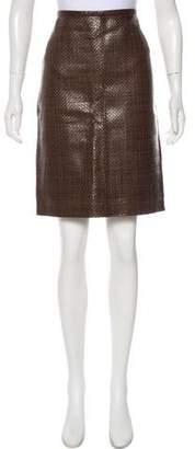 Max Mara Basketweave Leather Pencil Skirt w/ Tags