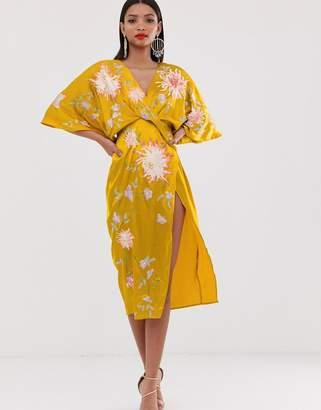 Asos Design DESIGN satin kimono midi dress with floral embroidery