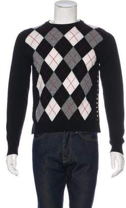 Valentino Argyle Wool Rockstud Sweater