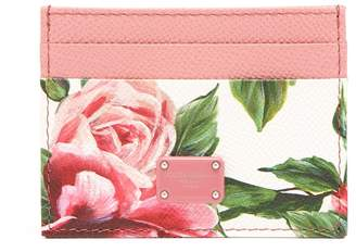 Dolce & Gabbana Rose-print leather cardholder