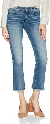 7 For All Mankind Women's Cropped Boot Jean with Raw Hem in