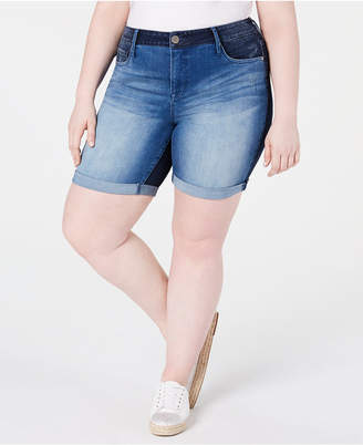 Seven7 Jeans Trendy Plus Size Weekend Colorblocked Denim Bermuda Shorts