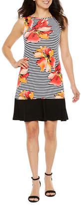 Ronni Nicole Sleeveless Stripe Floral A-Line Dress