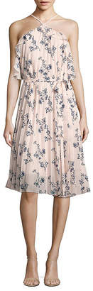Shoshanna Pleated Floral-Print Halter Dress