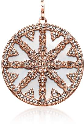 Thomas Sabo Rose Gold Plated Sterling Silver Round Pendant w/Mother of Pearl and White Cubic Zirconia