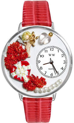 Whimsical Watches Personalized Valentines Day Womens Silver-Tone Bezel Red Leather Strap Watch