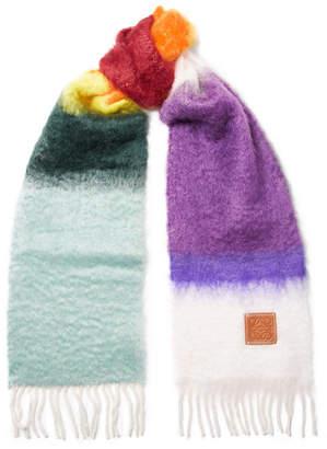 Loewe Fringed Mohair And Wool-blend Scarf - Purple