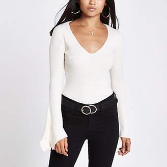 River Island Womens Petite Cream rib knit split sleeve top