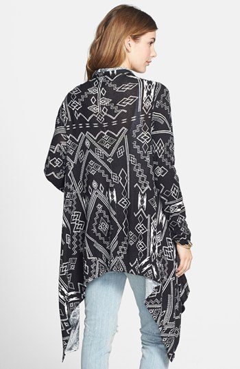 Billabong 'Drift Together' Geometric Pattern Open Front Cardigan (Juniors)