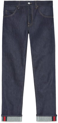 Gucci Tapered denim pant with Web