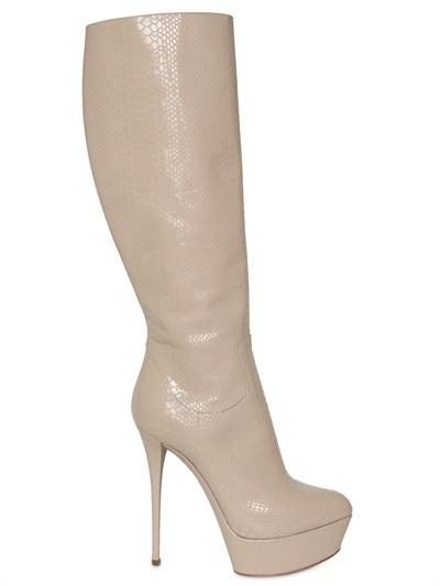 Casadei 140mm High Length Python Print Boots