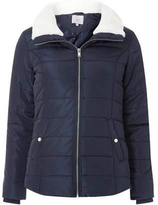 Dorothy Perkins Womens Petite Navy Faux Fur Collar Puffer Jacket