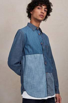 French Connection Antique Patchwork Indigo Shirt