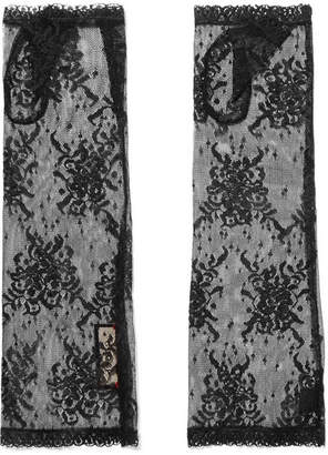 Gucci Lace Fingerless Gloves - Black