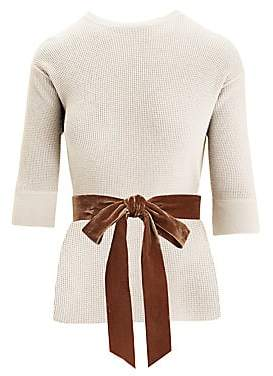 Marc Jacobs Women's Waffle-Knit Cashmere-Blend Crewneck Bow Sweater