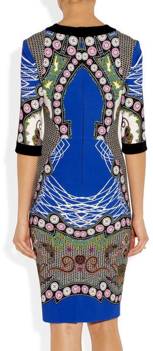Etro Printed stretch-jersey crepe sheath dress