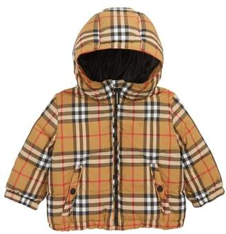 Burberry Check Hooded Down Coat