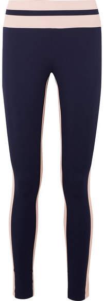 Vaara - Flo Tuxedo Striped Stretch-knit Leggings - Midnight blue