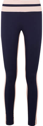 Vaara - Flo Tuxedo Striped Stretch-knit Leggings - Midnight blue