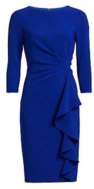 Teri Jon by Rickie Freeman Women's Crepe Side Ruffle Sheath Dress
