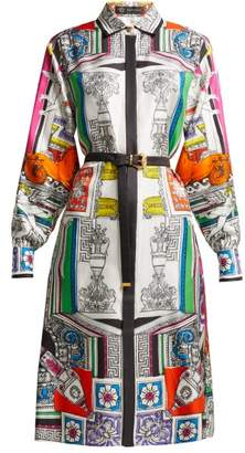 Versace Temple Print Silk Satin Shirtdress - Womens - White Multi