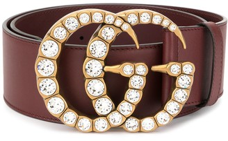 Gucci Leather belt with crystal Double G buckle