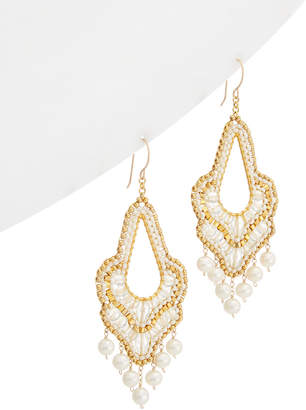 Miguel Ases 18K Plated Pearl & Crystal Drop Earrings