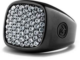 David Yurman Pavé Ring with Grey Sapphire in Black Titanium
