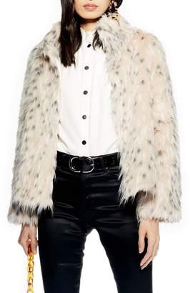 Topshop Patsy Snow Leopard Faux Fur Jacket