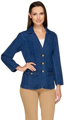 Joan Rivers Classics Collection Joan Rivers Denim Blazer with Bracelet Sleeve