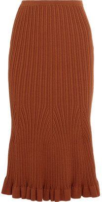 Fluted Ribbed-knit Stretch-cotton Midi Skirt - Brown