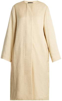 Nettle collarless silk-cloqué coat