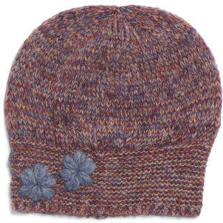 Made In Italy Marled Knit Floral Beanie