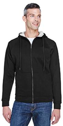ULTRACLUB UltraClub Adult Rugged Wear Thermal-Lined Full-Zip Hooded Fleece - BLACK/ HTHR GREY - M 8463