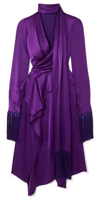 Alexander McQueen Fringed Cutout Silk-satin Midi Dress - Purple