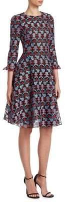 Emporio Armani Embroidered Ruffle Dress
